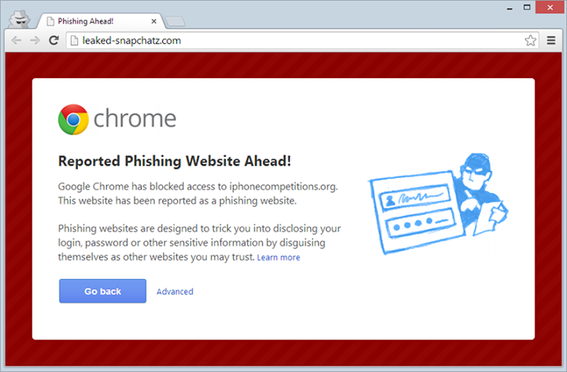 "Chrome reporting a phishing warning for the ""Facebook"" login page"