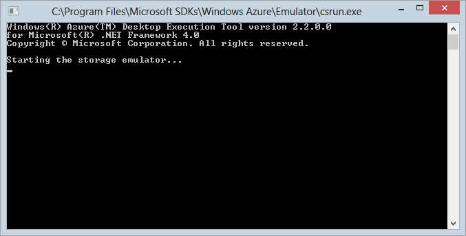 Starting the Azure Storage Emulator