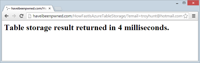 Table storage result returnd in 4 milliseconds