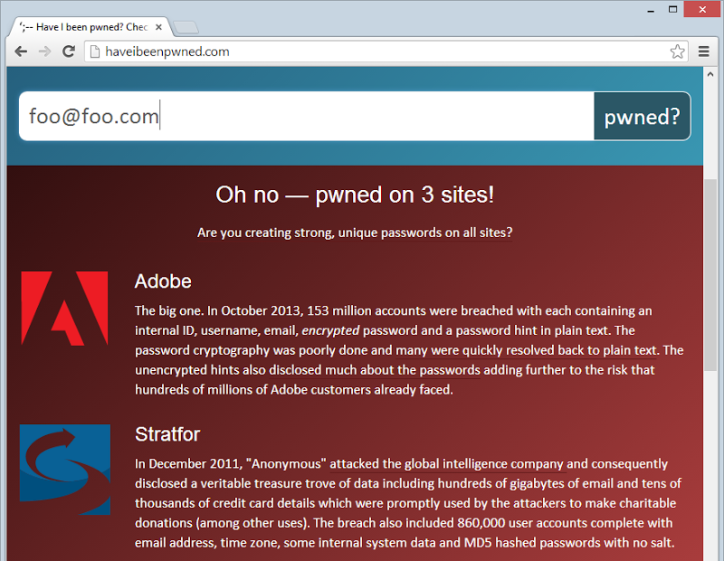 Showing Adobe and Strafor breach result