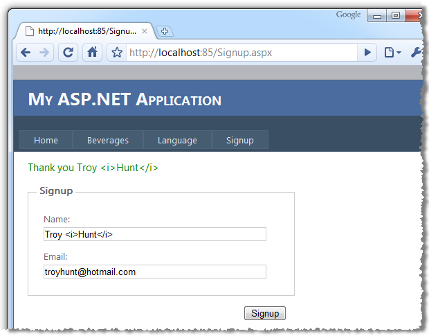 Troy Hunt: OWASP Top 10 for  NET developers part 2: Cross-Site