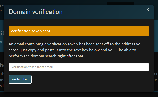 Verification token sent to email needs to be entered