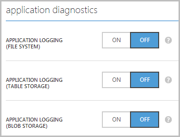 Application diagnostic settings in the portal