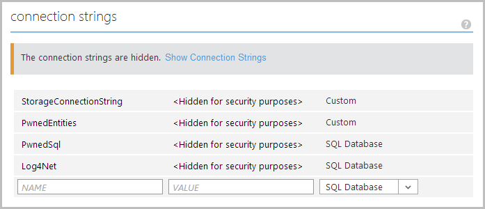 Managing connection strings in an Azure Web Site