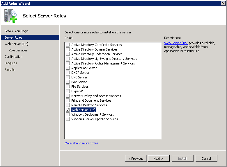 Adding an IIS role