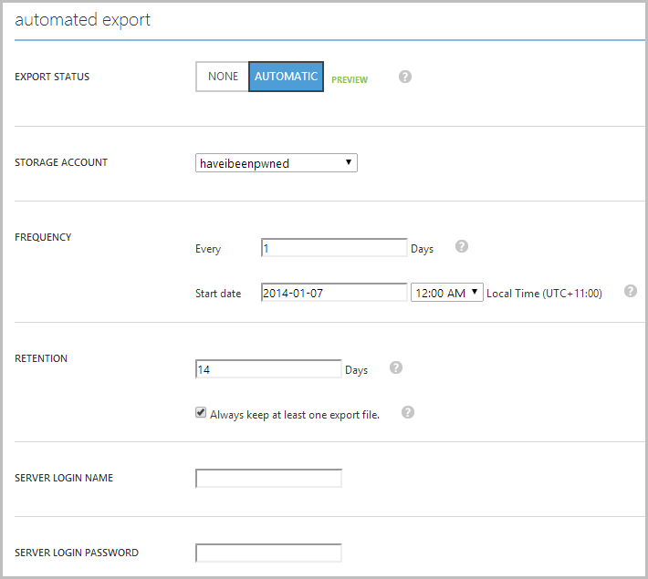 Configuring auomated exports for SQL Azure
