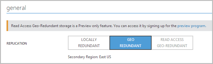 Enabling geo redundant storage