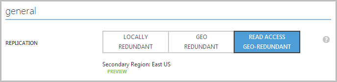 "Choosing ""Read Access Geo-Redundant"" in the storage replication configuration"