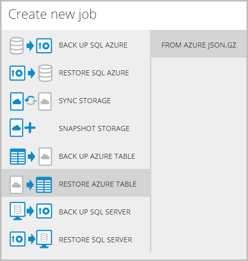 Restoring data to Azure Table Storage