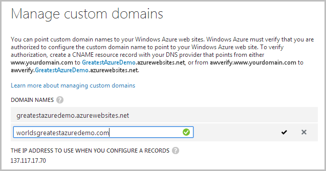 Adding the domain in the Azure Management Portal
