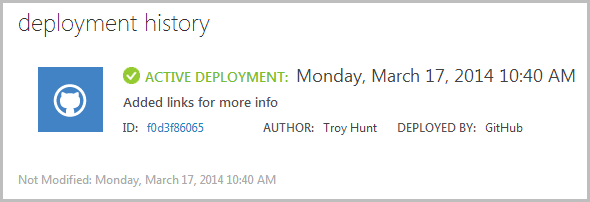 Deployment history showing new site live