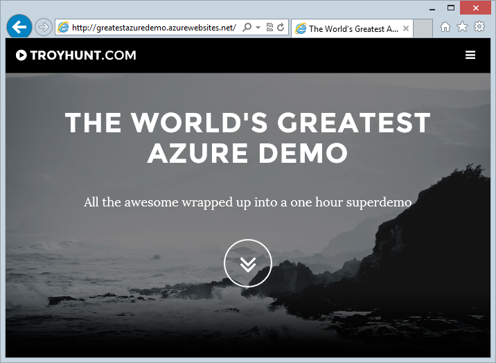 New website running on greatestazuredemo.azurewebsites.net