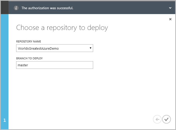 Selecting the repository name to deploy from