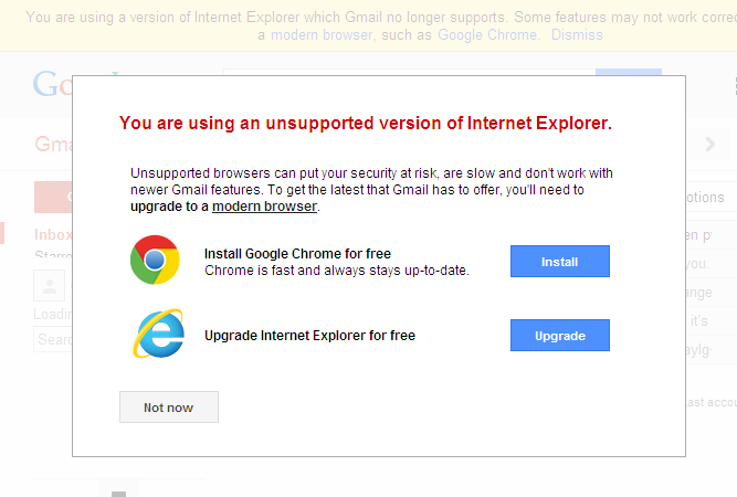 "Gmail: ""You are using an unsupported version of Internet Explorer"""