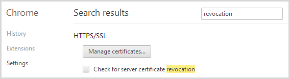 Chrome will not check for revoked certificates by default