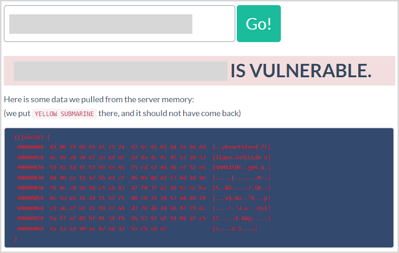 Heartbleed test page