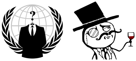 Anonymous and LulzSec logos
