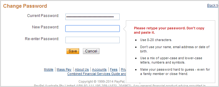 PayPal's message abotu disallowing paste on the change password page
