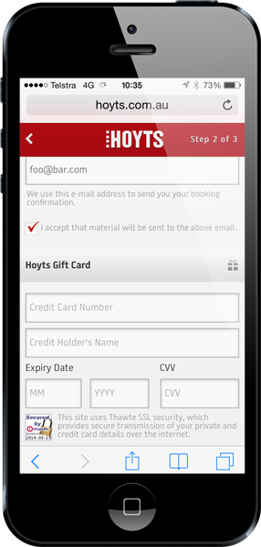 Hoyts payment screen loaded over HTTP