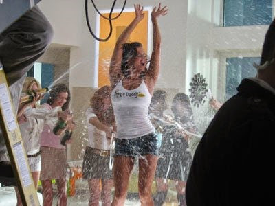 "Nothing says ""We know domains"" better than spraying champagne over a a gorgeous girl in a white tank top"
