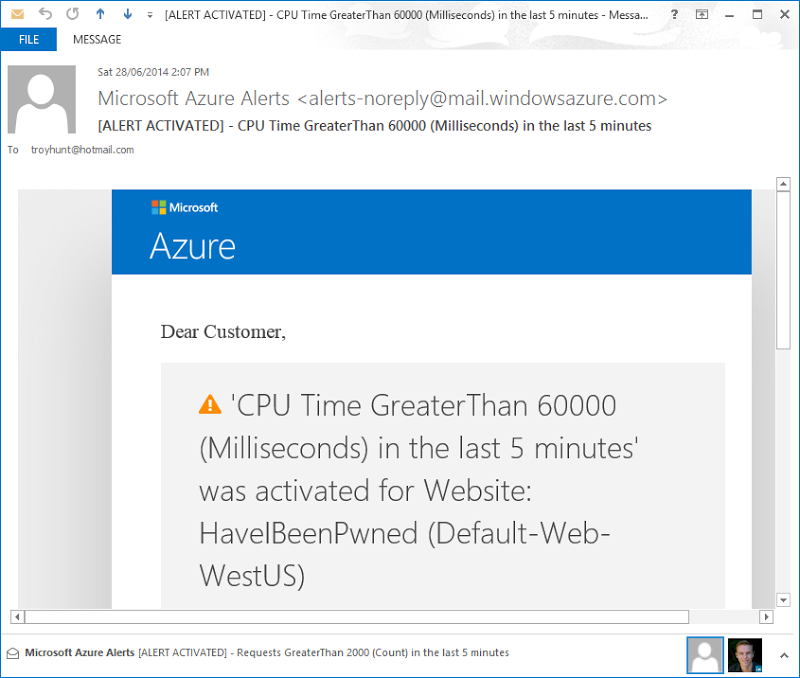 Azure alert email saying CPU exceeded 60 seconds over the last 5 mins