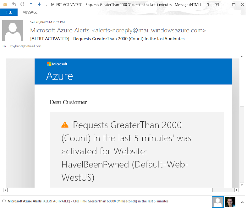 Azure alert email saying requests exceeded 2k over the last 5 mins