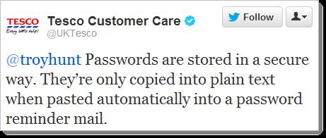 Tesco: Mật khẩu được lưu trữ một cách an toàn. Chúng chỉ được sao chép vào thử nghiệm đơn giản khi được dán tự động vào email nhắc nhở mật khẩu.
