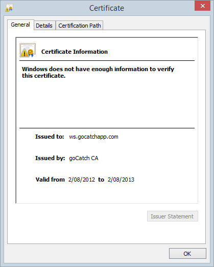 "The goCatch certificate showing that it was issued by ""goCatch CA"""