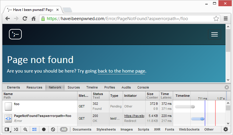 A genuine 404 showing a 302 redirect