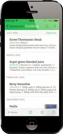 Evernote on the 5 with less content showing