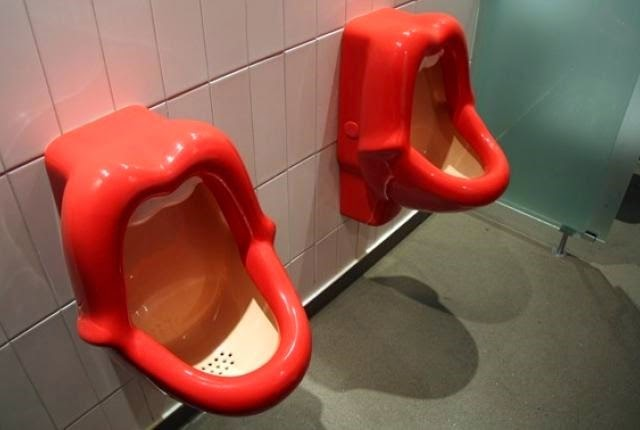 Virgin's urinals which appear like an open woman's mouth