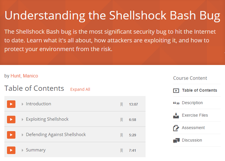 Understanding the Shellshock Bash Bug - FREE Pluralsight course