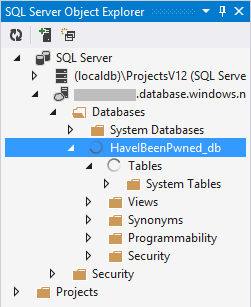 SQL Azure in the SQL Server Object Explorer