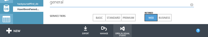 """Link to """"Open in Visual Studio"""" when in the context of a SQL Azure DB"""