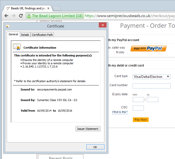 The PayPal frame showing securepayments.paypal.com