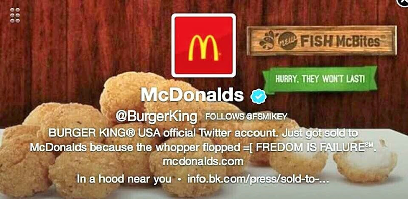 Burger King's Twitter accoutn hacked to show McDonalds