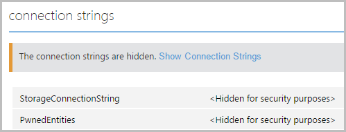 Connection strings in the Azure website