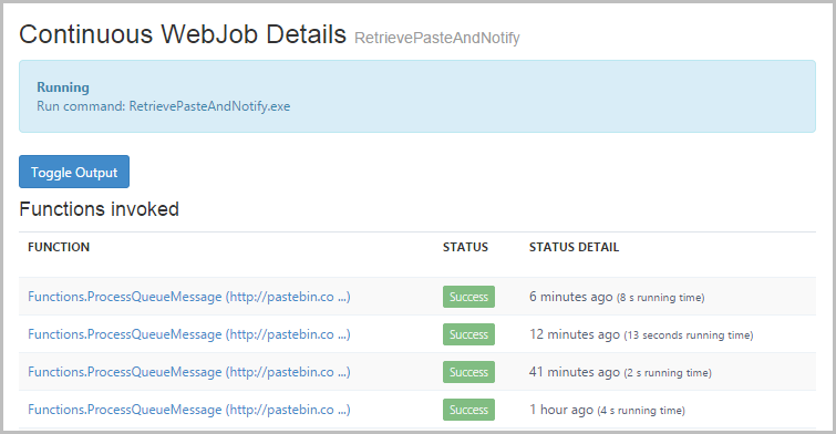 Functions invoked in the WebJob