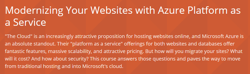 Modernizing Your Websites with Azure Platform as a Service