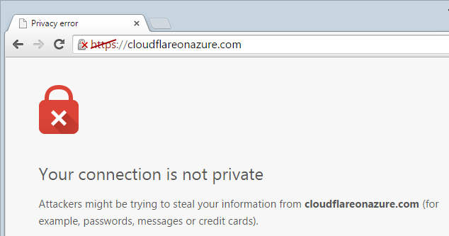 Trying to load cloudflareonazure.com over HTTPS shows a security warning