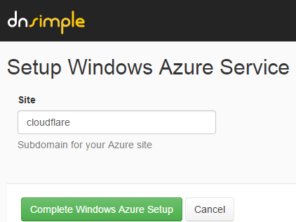 Setting up the Azure DNS records on DNSimple