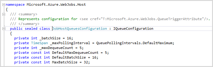 The JobHostQueuesConfiguration setting the max batch size to 32
