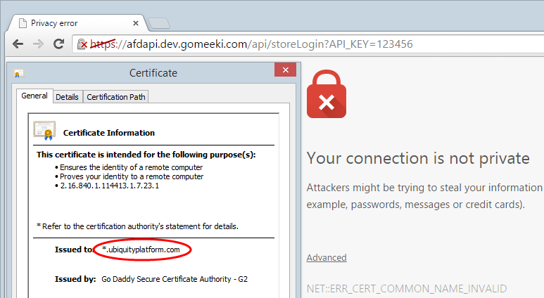 Invalid cert for Gomeeki request