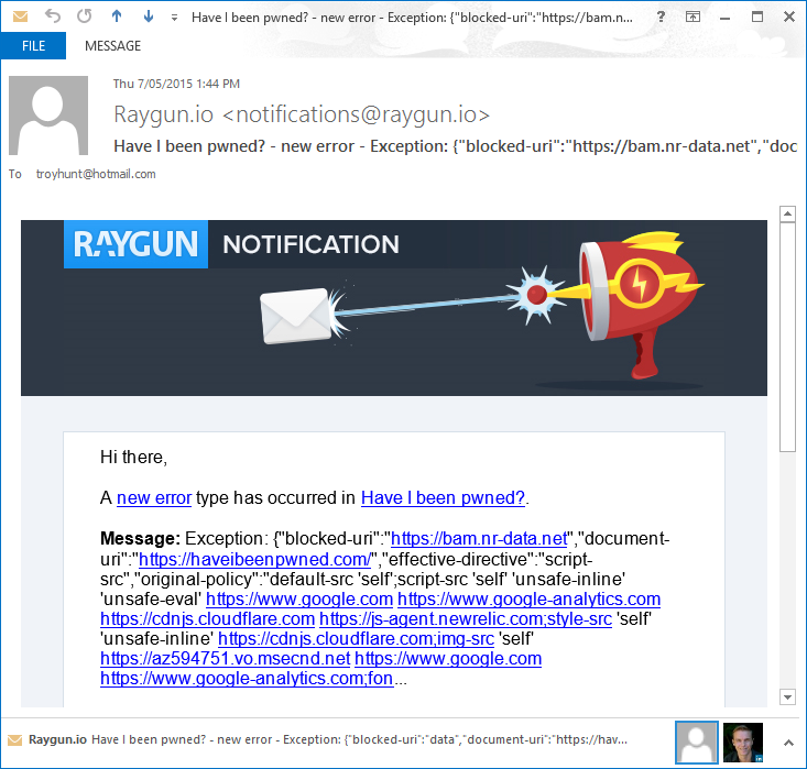 A new Raygun exception arriving via email