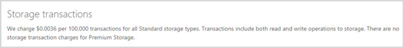 Storage transactions are charged at $0.0036 per 100,000 transactions