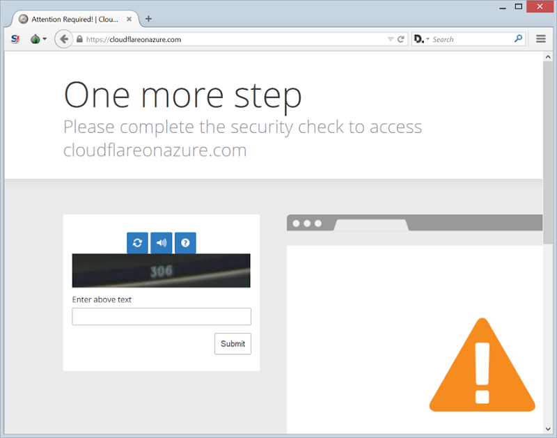 A CloudFlare challenge in the Tor browser