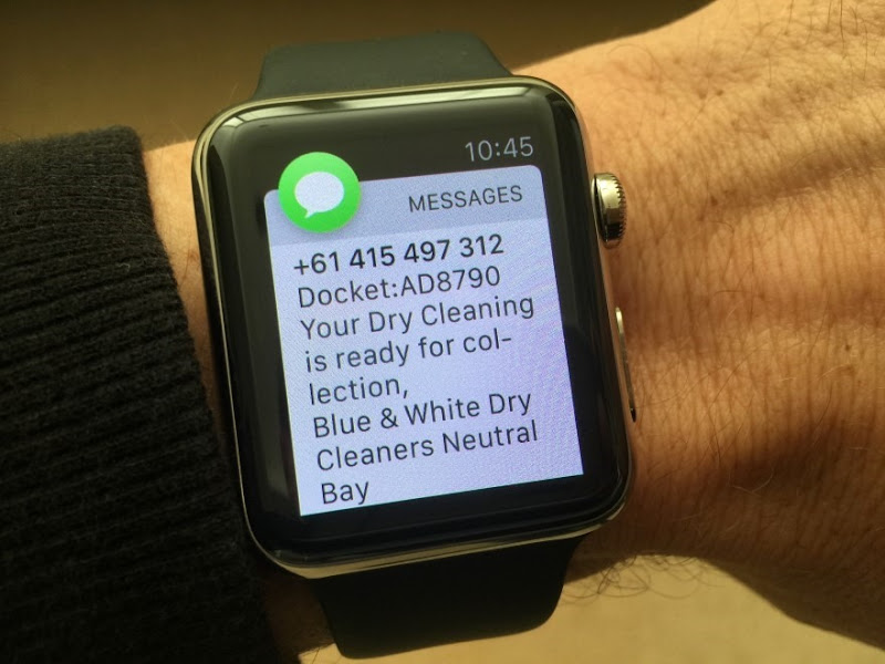 Message saying dry cleaning is ready