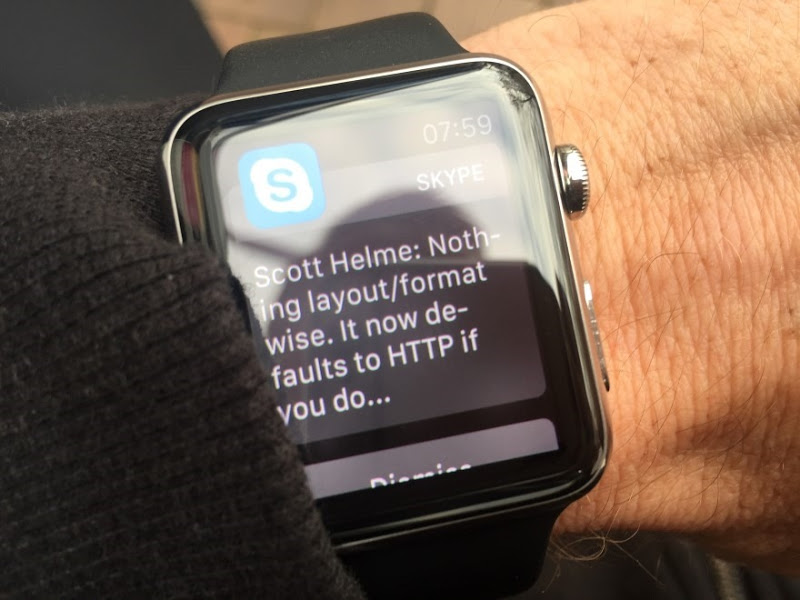 Skype with a message that fits the watch nicely