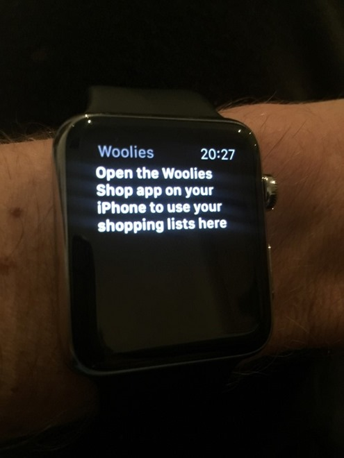 Woolies app saying to go to the phone for the shopping list