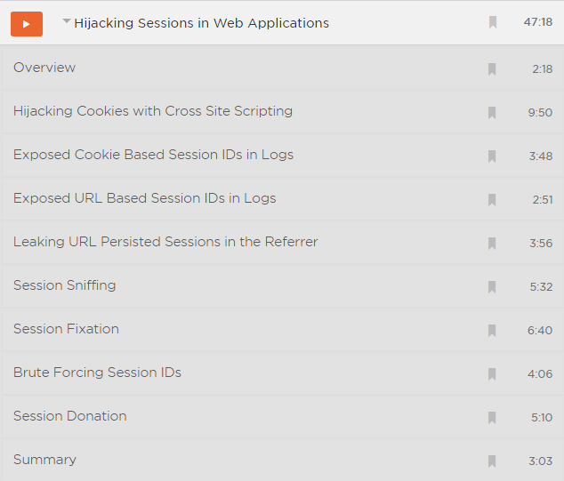 The clips in the Hijacking Sessions in Web Apps module